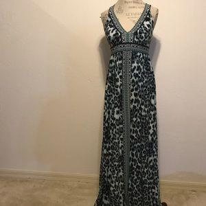 INC Mint Snow Leopard Print Sexy Maxi Dress NWOT